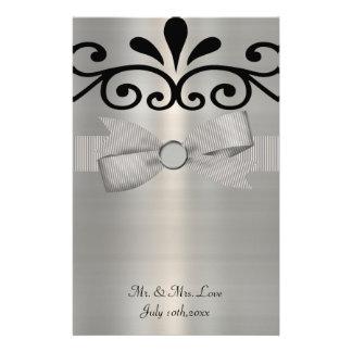 Shimmery Silber u. schwarze gestreifte Briefpapier