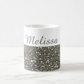 Shimmery silberner Glitter mein Name Kaffeetasse