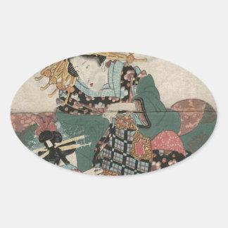 Shinagawa: Wakana des Wakanaya durch Keisai Eisen Ovaler Aufkleber