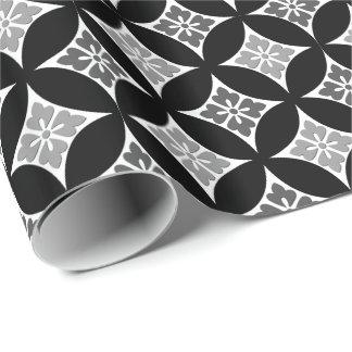 Shippo mit Blumen-Motiv, Schwarzem, Weiß und Grau Geschenkpapier