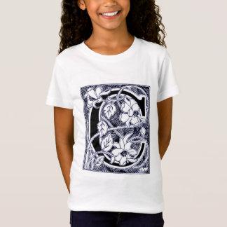 """Shirt des Blumen-Rebe-Buchstabe-""""C"""" -"""