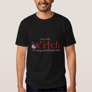 Shirt H Kaffee-Hexe auf Schwarzem