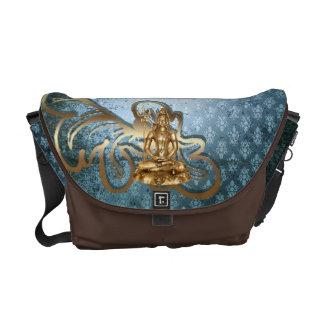 Shiva - Blau, Damast, Goldbote-Tasche Kurier Taschen