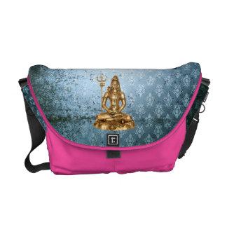 Shiva - Blau, Damastgold, rosa Bote-Tasche Kurier Tasche