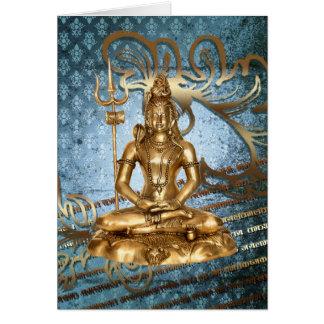 Shiva Gold, Blau, Damast Gruß-Karte Notecard Grußkarte