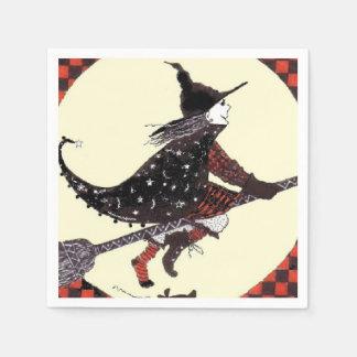 Shoeless Hexe auf Besen Papierserviette