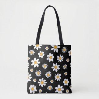 Shopper im schwarz-weißen Design mit Blumen Tasche