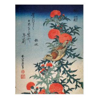 Shrike und Distel (durch Hokusai) Postkarte