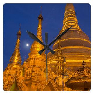 Shwedagon Pagode nachts, Myanmar Quadratische Wanduhr