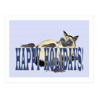 Siamesisch und Mäuse frohe Feiertage Postkarten