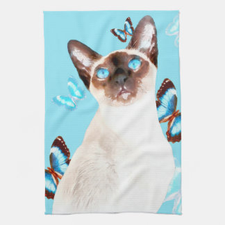 Siamesisch und Schmetterlinge Handtuch