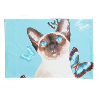 Siamesisch und Schmetterlinge Kissen Bezug