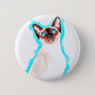 Siamesische CatWatercolor Kunst Runder Button 5,1 Cm