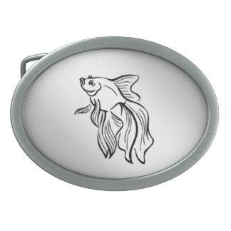Siamesische kämpfende Fische Ovale Gürtelschnallen