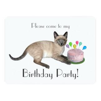 Siamesische Kätzchen-Geburtstags-Party Einladung
