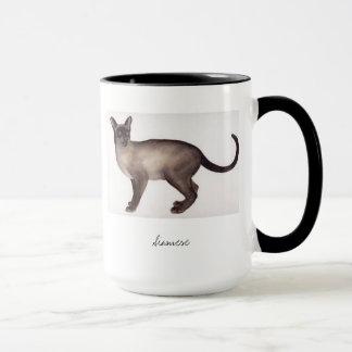 Siamesische Katze gemalt in der Wasserfarbe Tasse
