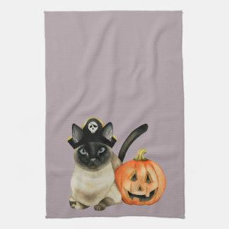 Siamesische Katze Halloweens mit Jack O Laterne Geschirrtuch