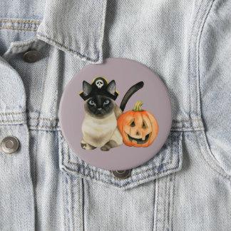 Siamesische Katze Halloweens mit Jack O Laterne Runder Button 10,2 Cm