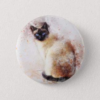 Siamesische Katzen-abstrakte Elemente Runder Button 5,7 Cm