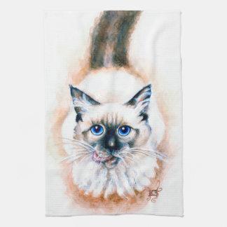 Siamesische Katzen-Aquarell Geschirrtuch