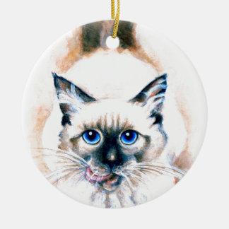 Siamesische Katzen-Aquarell Keramik Ornament