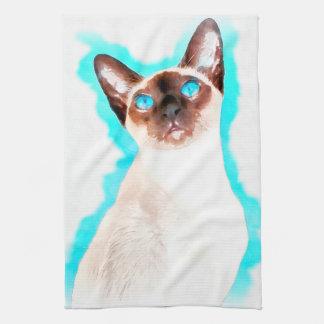 Siamesische Katzen-Aquarell-Kunst Geschirrtuch