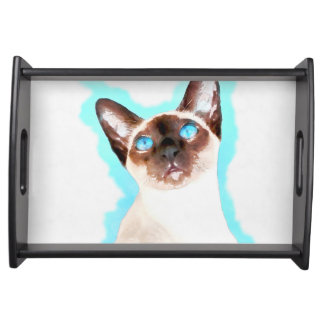Siamesische Katzen-Aquarell-Kunst Tablett