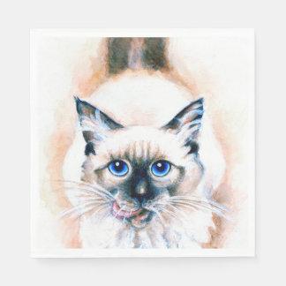 Siamesische Katzen-Aquarell Papierserviette