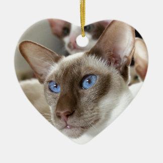 Siamesische Katzen-Haustier-Tiere Keramik Herz-Ornament