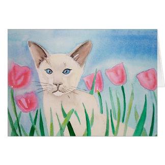 Siamesische Katzen-Karte durch Molly Harrison Karte