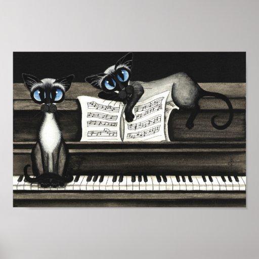 Siamesische Katzen-Klavier-Musik-Plakat