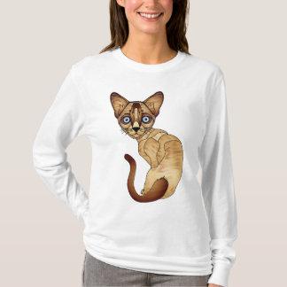 Siamesische Katzen-langer Hülsen-T - Shirt