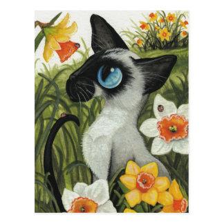 Siamesische Katzen-Ostern-Frühlings-Narzissen Postkarte