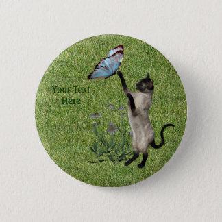 Siamesische Katzen-Schmetterlings-Knopf Runder Button 5,7 Cm