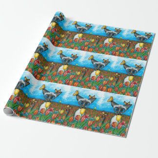 Siamesische Katzen-Schmetterlings-Tulpen BiHrLe Geschenkpapier