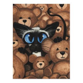 Siamesische Katzen-Teddybär-feste Umarmung durch Postkarte