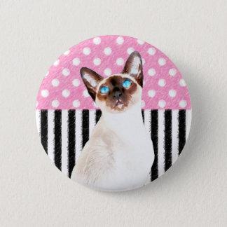 Siamesische rosa Polka Runder Button 5,7 Cm