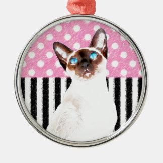 Siamesische rosa Polka Silbernes Ornament
