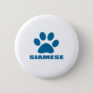 SIAMESISCHER CAT-ENTWÜRFE RUNDER BUTTON 5,1 CM