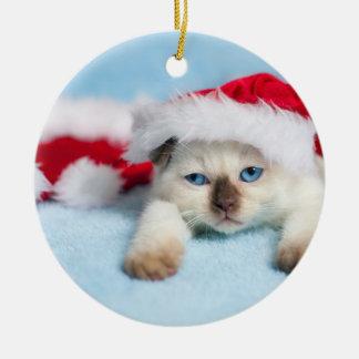 Siamesisches Kätzchen: WeihnachtsMiezekatze Keramik Ornament