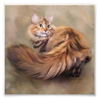 Sibirische Katzenporträtkunst, die Öl zeichnet Fotodruck