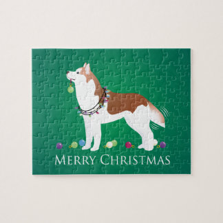 Sibirischer Husky - Rot - frohe Weihnacht-Entwurf Puzzle
