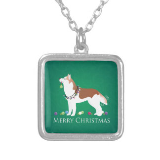 Sibirischer Husky - Rot - frohe Weihnacht-Entwurf Versilberte Kette