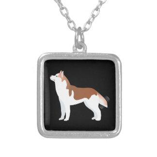Sibirischer Husky - Rot - Zucht-Schablonen-Entwurf Versilberte Kette