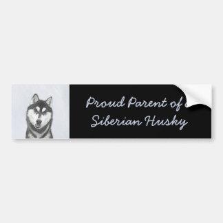 Sibirischer Husky (Schwarzweiss) Autoaufkleber