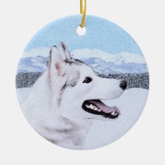 Sibirischer Husky (Silber und Weiß) Rundes Keramik Ornament