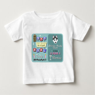 Sibirischer Schlittenhund-Bowling Tiki Nacht Baby T-shirt