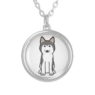Sibirischer Schlittenhund-HundeCartoon Halskette Mit Rundem Anhänger