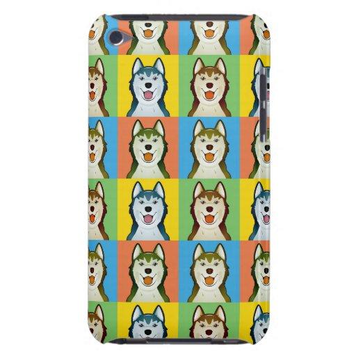 Sibirischer Schlittenhund-HundeCartoon Pop-Kunst iPod Case-Mate Hüllen