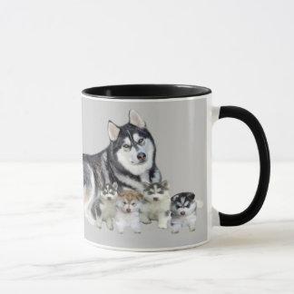 Sibirischer Schlittenhund u. Welpen-Tasse Tasse